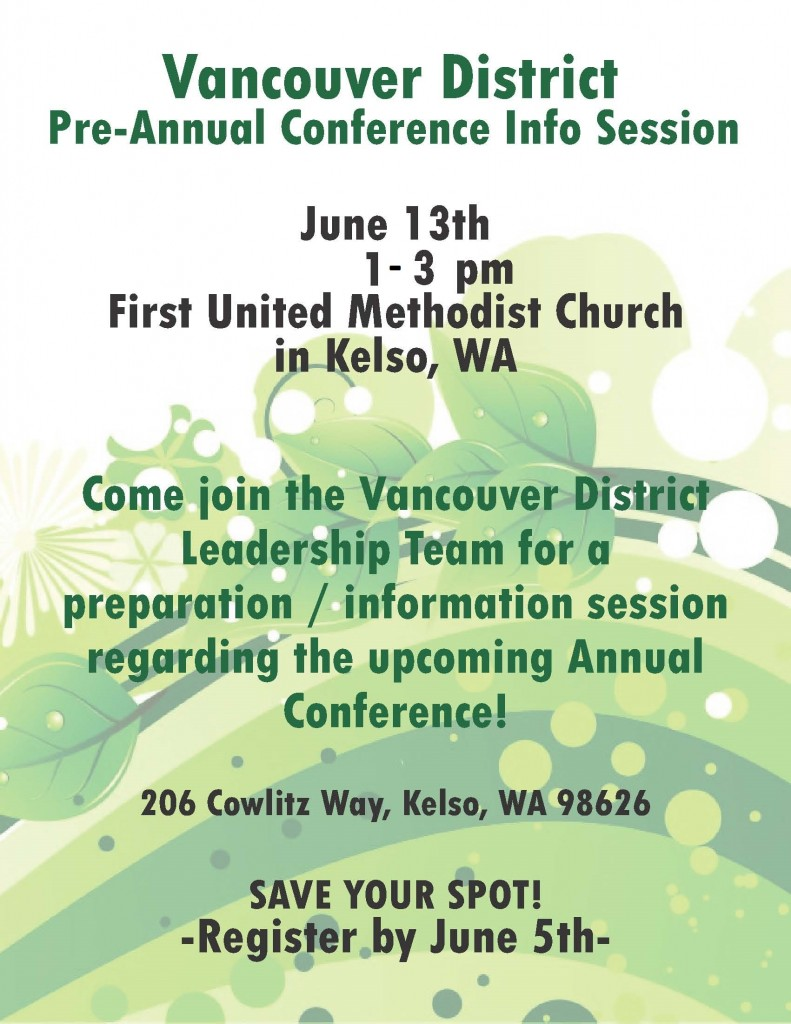 Vancouver Dist - Pre conference info session