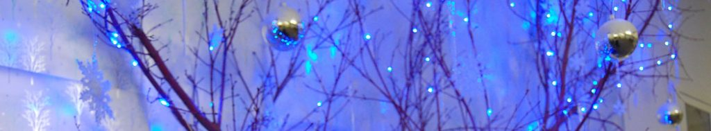 Advent photo with blue lights tree branches and two silver balls.